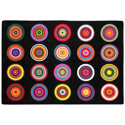 Color Rings Black/Pink Area Rug