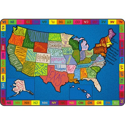 My America Doodle Map Blue/Green Area Rug