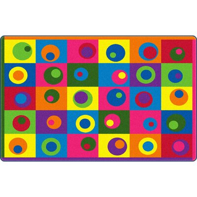 Silly Circles Blue/Yellow Area Rug Rug Size: 76 x 12