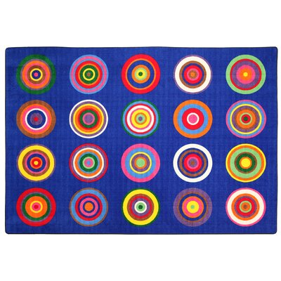 Color Rings Indigo Area Rug