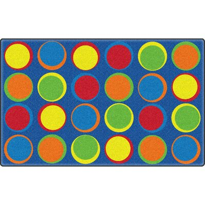 Sitting Spots Blue/Yellow Area Rug Rug Size: 76 x 12
