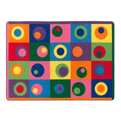 Silly Circles Blue/Yellow Area Rug Rug Size: 510 x 84
