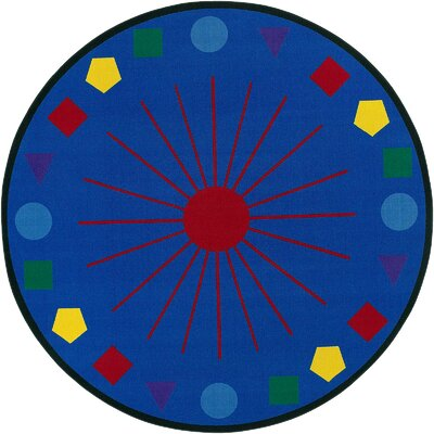 Educational Blue Shapes Galore Area Rug Rug Size: Round 6