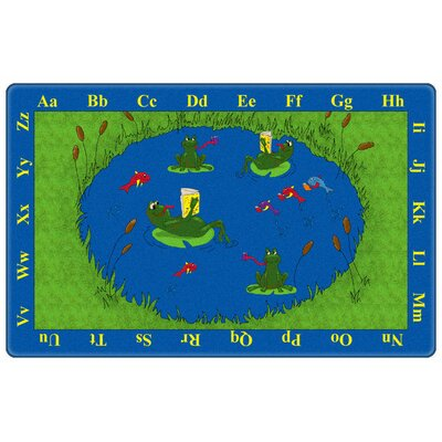 Educational Green/Blue Animal Frogs Area Rug Rug Size: Rectangle 9 x 6