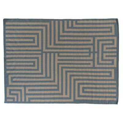 Flat Weave Sky/Beige Area Rug Rug Size: 5 x 8