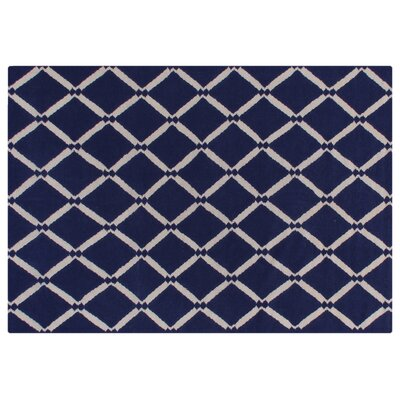 Flat Weave Royal Blue Area Rug Rug Size: 5 x 8