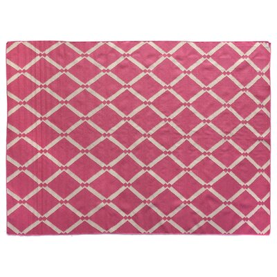 Flat Weave Pink Area Rug Rug Size: 5 x 8