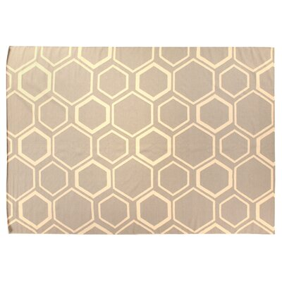 Flat Weave Sky/White Area Rug Rug Size: 5 x 8