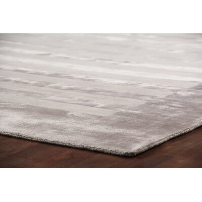 Panel Stripes Hand Woven Silk Silver Area Rug Rug Size: Rectangle 5 x 8