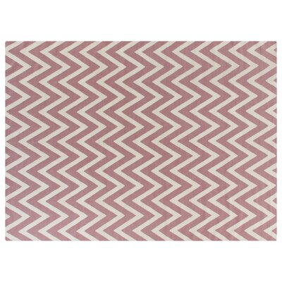 Flat Weave Pink/White Area Rug Rug Size: 9'6