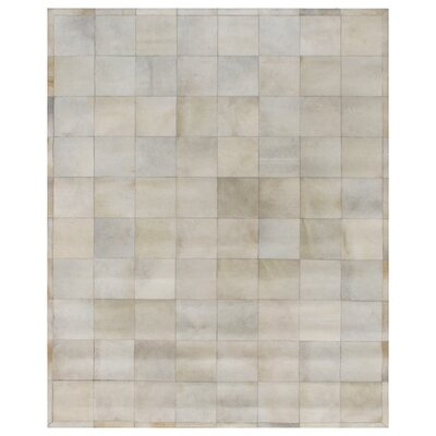 Hand Woven Leather Ivory/Gray Area Rug