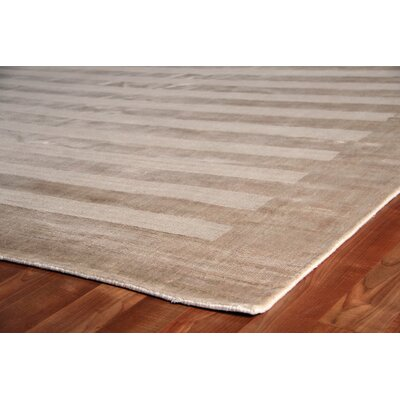 Panel Stripes Hand Woven Silk Light Beige Area Rug