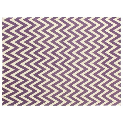 Flat Weave Electric Purple/White Area Rug Rug Size: 5 x 8