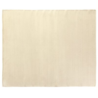 Herringbone Stitch White Area Rug Rug Size: 9 x 12