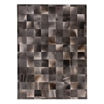 Natural Hide Gray Area Rug Rug Size: 96 x 136
