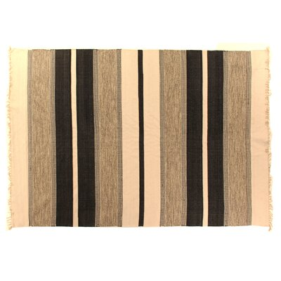 Soft Flat Weave Black Area Rug Rug Size: 5 x 8