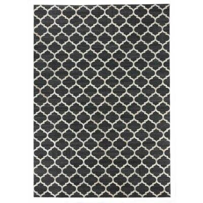 Handmade Charcoal/Ivory Area Rug Rug Size: 5 x 8