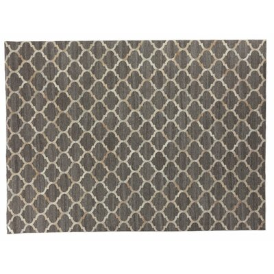 Handmade Beige/Silver Area Rug Rug Size: 96 x 136