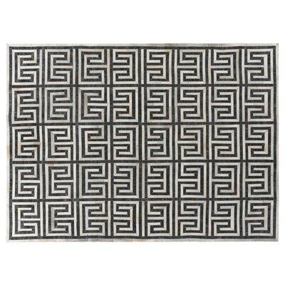 Handmade Charcoal/Ivory Rug Rug Size: 8 x 11
