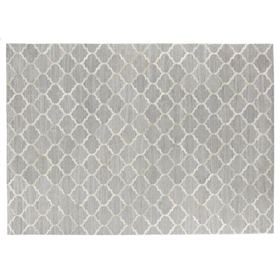 Handmade Silver/Ivory Area Rug Rug Size: 116 x 146