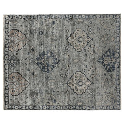 Hand-Knotted Gray/Denim Blue Area Rug Rug Size: 12 x 15