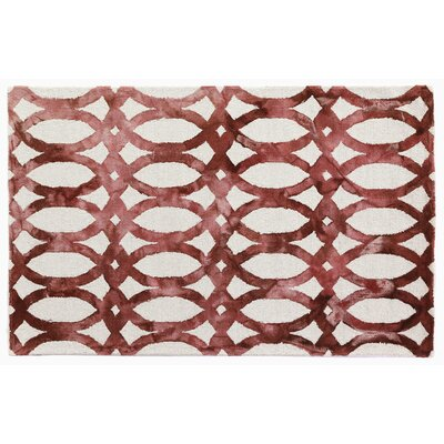 Dip-Dye Hand-Tufted Red Area Rug Rug Size: 96 x 136