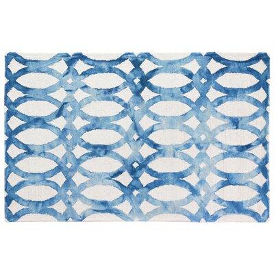 Dip-Dye Hand-Tufted Blue Area Rug Rug Size: 96 x 136