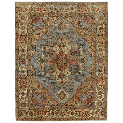 Serapi Knotted Light Blue/Ivory Handmade Area Rug Rug Size: 117 x 144