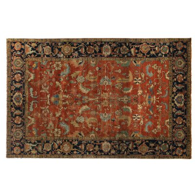 Serapi Knotted Red/Blue Handmade Area Rug