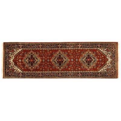 Serapi Knotted Rust/Black Handmade Area Rug Rug Size: 26 x 8