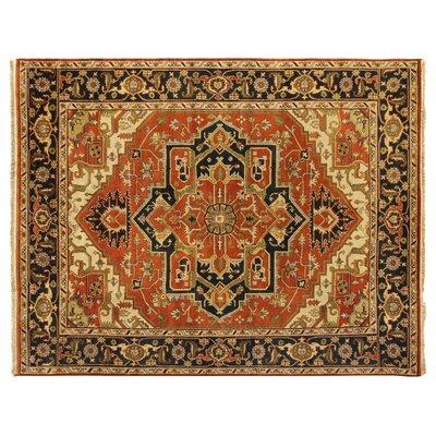 Serapi Knotted Rust/Black Handmade Area Rug Rug Size: 4 x 6
