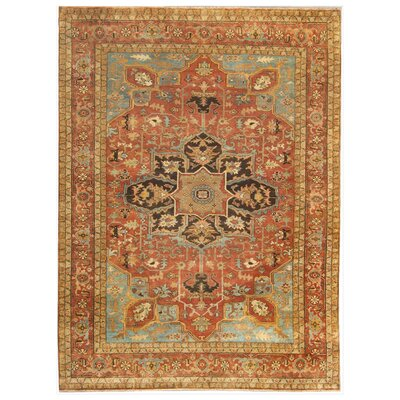 Serapi Hand-Knotted Wool Rust/Aqua Area Rug Rug Size: Rectangle 14 x 18
