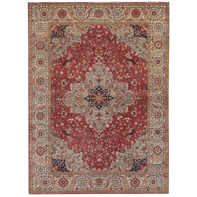 Fine Serapi Hand-Knotted Wool Dark Red Area Rug Rug Size: Rectangle 14 x 18
