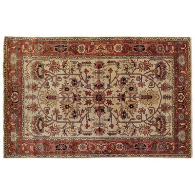 Serapi Hand-Knotted Red/Ivory Handmade Area Rug Rug Size: 6 x 9