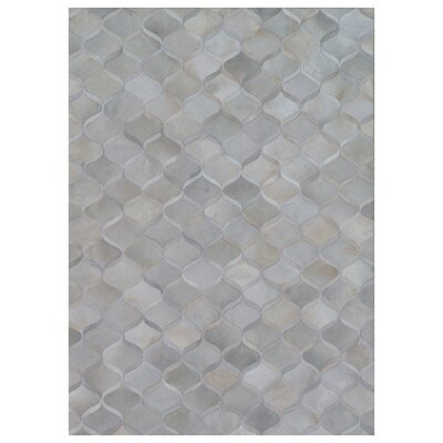Natural Hide Leather Hand-Woven Gray Area Rug Rug Size: Rectangle 136 x 176
