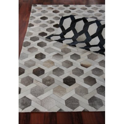 Natural Hide Hand Woven Cowhide Beige/Blue Area Rug Rug Size: Rectangle 96 x 136