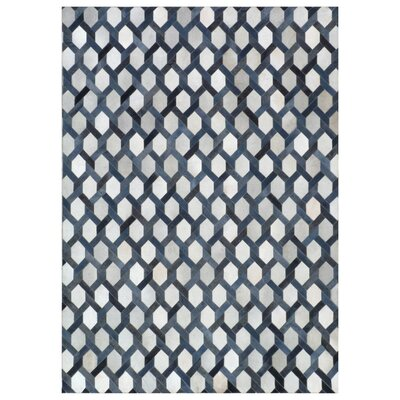 Natural Hide Hand Crafted Blue/Silver Area Rug