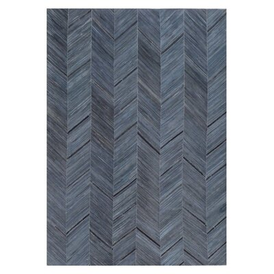Natural Hide Hand Crafted Blue/Black Area Rug Rug Size: 116 x 146