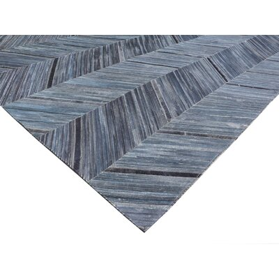 Hand Woven Leather Blue/Black Area Rug