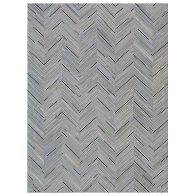 Natural Hide Hand Crafted Silver/Blue Area Rug
