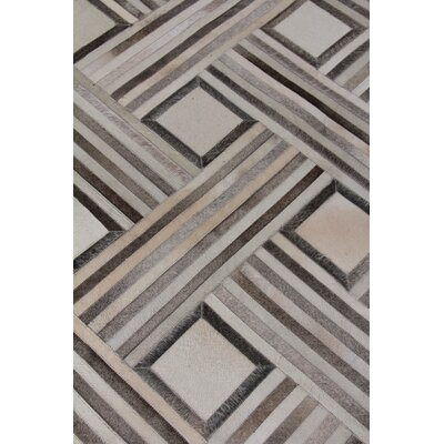 Hand Woven Leather Silver/Ivory Area Rug