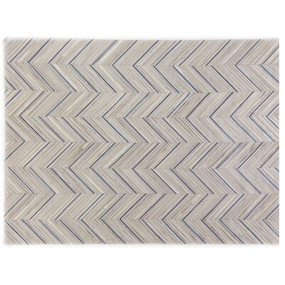 Natural Hide Hand Crafted Ivory/Navy Area Rug