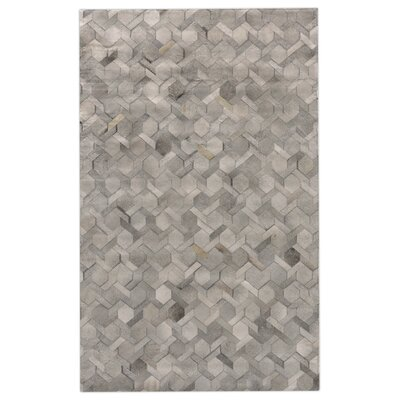 Natural Hide Hand Crafted Silver Area Rug Rug Size: 5 x 8