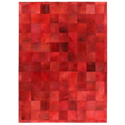 Natural Hide Hand Crafted Red Area Rug Rug Size: 5 x 8