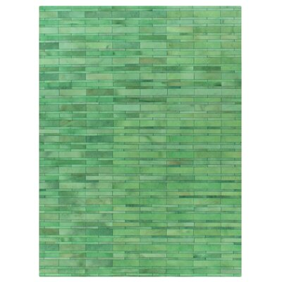 Natural Hide Hand Crafted Green Area Rug
