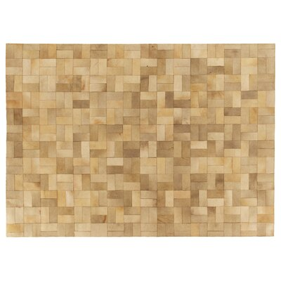 Natural Hide Hand-Tufted Ivory Area Rug Rug Size: 96 x 136