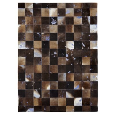 Natural Hide Hand Crafted Black/Brown Area Rug