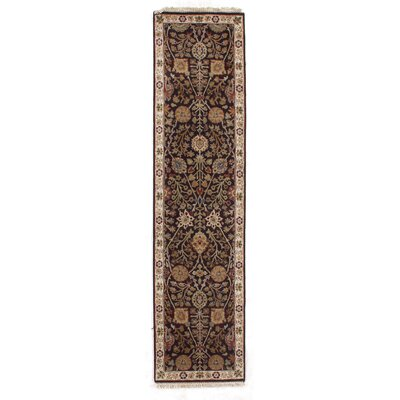Agra Hand-Knotted Wool Dark Gray/Ivory Area Rug
