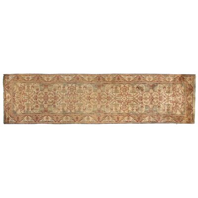 European Polonaise Hand-Knotted Wool Cream/Sage Area Rug Rug Size: Runner 3 x 25