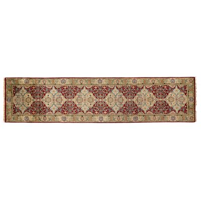 European Polonaise Hand-Knotted Wool Burgundy/Beige Area Rug Rug Size: Runner 211 x 84
